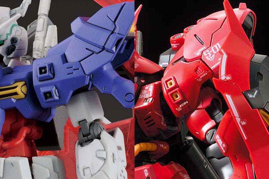 左が「HGUC 1/144 ムーンガンダム」で、右が「RG 1/144 サザビー」。外側に跳ね上がった独特な肩形状やディテールは確かに似ている。「 ムーンガンダム」が「サザビー」