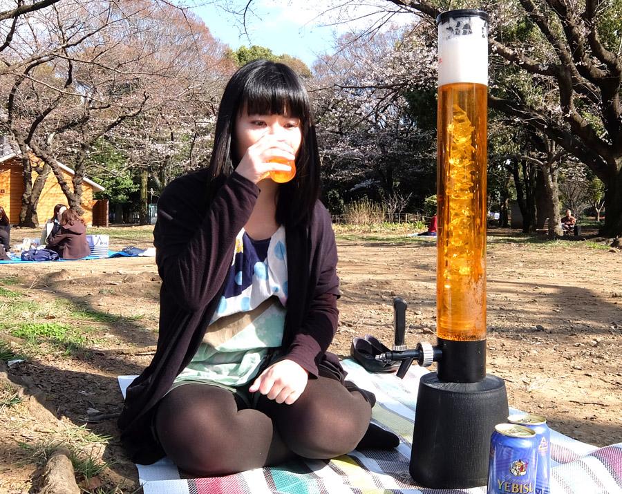 3Lのビールサーバーを使って1人...
