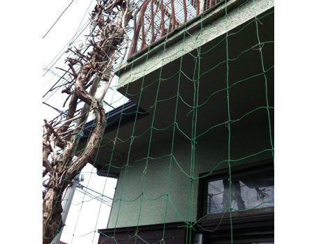 このように、2Fベランダ物干しから1Fまで園芸用ネットを吊るします。1階の庭から2階の物干し台までカバーすることも可能