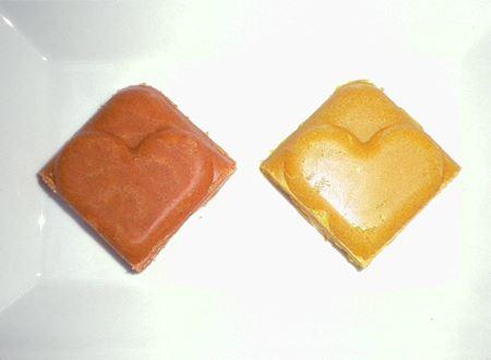 切り離すとキュートなハートに。ハート型のルウで気分もあがる♪画像左がクリーミートマト、右がパンプキン