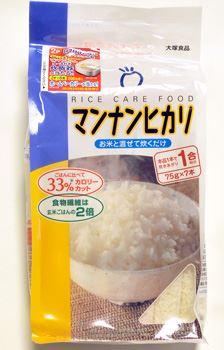「大塚食品 マンナンヒカリ525gスティックタイプ」。米1合分相当のマンナンヒカリ75gが7つのスティックに小分けされています