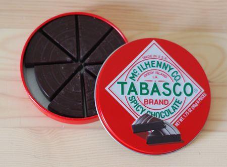 タバスコのトレードマークがデザインされた、直径8センチほどのシャレた円形の缶入り