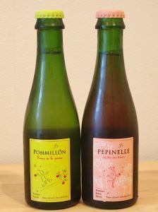 POMMILLON(ポミヨン)が白、PEPINELLE(ペピネル)がロゼタイプ。185mlのミニボトルの他に、750mlのフルボトルもラインナップ