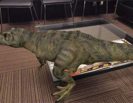 恐竜をタップすると恐竜が歩き出す!