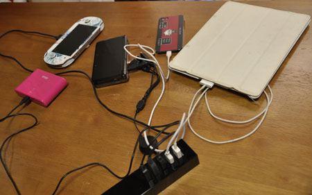 では実際に最大5個の充電が同時にできるのか試してみましょう!