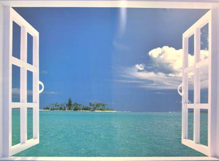 お風呂の窓ポスター タヒチの海