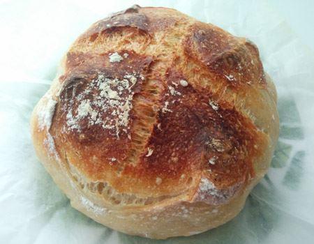カンパーニュ風のパン。しっかりとした濃い焼き色がつくのもこの粉の特徴です。外皮はカリっとしたクラスト感がありながら、中身はモチモチしています