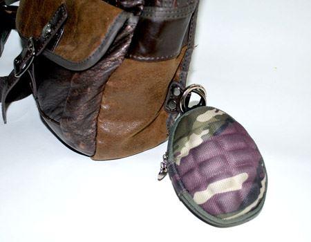 手榴弾の上についている丸いリングは、フックなどに差し込みやすい構造になってます腰のベルト穴やカバンにつけるのがいいと思います