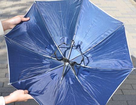 見た目は「柄のない傘」。使い方は簡単で、真ん中のゴムベルトを頭にかぶせるだけ!