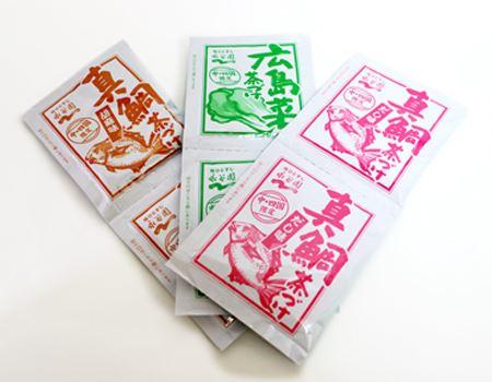中・四国限定茶づけはこの3種×2袋が入っていました