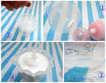 �@石けんを塗り塗り♪→�A水は結構少なめ→�B泡立て開始→�C容器いっぱいの泡が!
