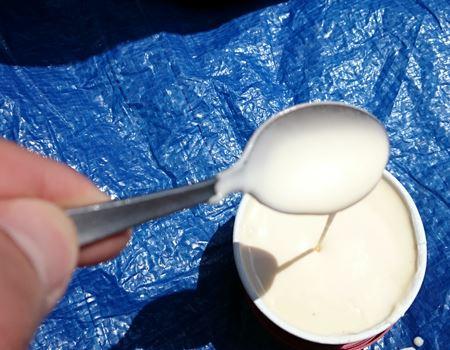 予想どおり外にあったアイスクリームは液体状に