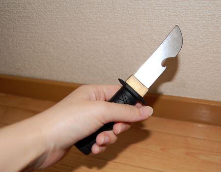 取り出してみると侍の刀というよりは忍者の小刀のような感じ