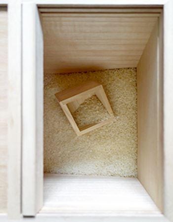 2kg分のお米を入れるとこんな感じ。10kg入るタイプなので、まだまだ余裕です