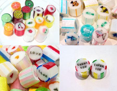 (左上)フルーツは、果実の断面のタイプとイラストタイプの2種類。(右上)キュートなイラストは時期によって変わります。(左下)「LOVE MIX」はハート柄と「LOVE」のメッセージ。(右下)THANK YOUはプレゼントにぴったり