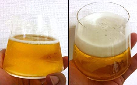 薄めのグラスだと泡ができやすい!