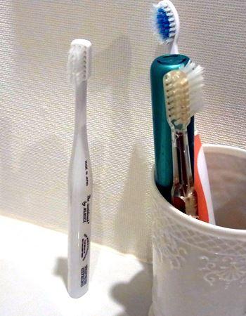 なんと自立する歯ブラシでした