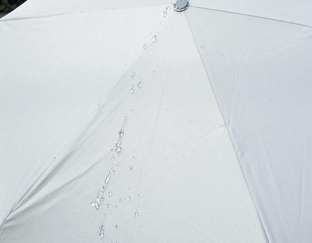 傘を開いて、そこにお水をシャーっと掛けてみました。ものスゴク水をはじいているのがわかりますか?