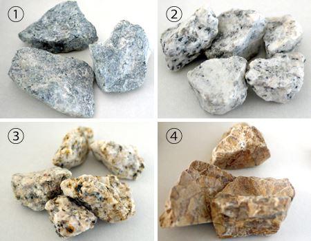 �@モノクロ天然石×3個 �A白川砂×5個 �B伊勢砂利×5個 �Cブラウン天然石×3個