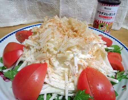 大根とホタテ缶のサラダエレガンス仕立て。シンプルな具材に野菜のうまみがマッチします!