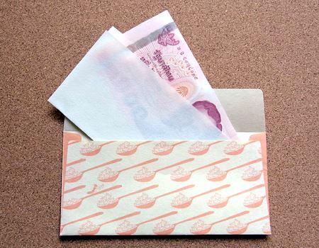 お札をはさんでから封筒に入れると、中に入れた時に透けて見えず、さらにお札がピシッと落ち着きます。お年玉やお小遣い、お祝いのお金や商品券などをこの封筒に入れて手渡しするのもいいですね