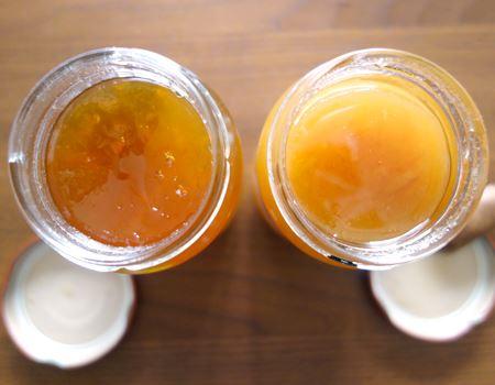 両方オレンジのママレードですが、ウイスキーのほうが若干色が濃いですね