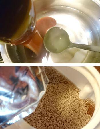 砂糖を入れたお湯で溶かして、約20Lの水で割ります。そしてイーストを投入してフタをします