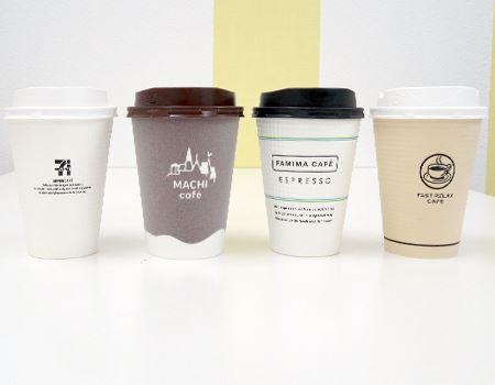 コンビニコーヒーのカップたち。今回はMサイズ(2種類の場合は、Lサイズ)で揃えてみました