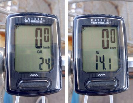 写真左:消費カロリー 写真右:平均速度などさまざまな数値を確認できます