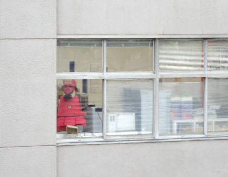 おや、窓際に…