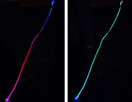 グラデーションの光が幻想的なLEDテントロープライト
