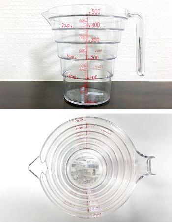 「段々計量カップ」は200mlと500mlの2種類があり、今回は500mlを購入