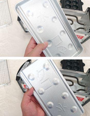 焼き物をする時には、電熱部分の下部に水を敷いた皿を置きます。たこ焼きの場合は電熱部分の下に皿をひっくり返して置きます