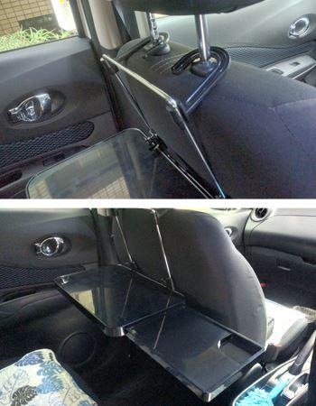 前の席のヘッドレストにフックをかけて、高さや傾きを調整すれば設置完了です