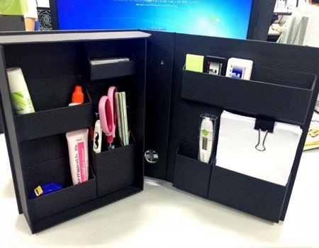 こんなふうに定規やペン、メモ帳などをキレイに収納できます
