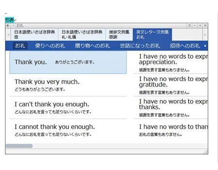 英文レター文例集など便利な機能も一発で呼び出せます