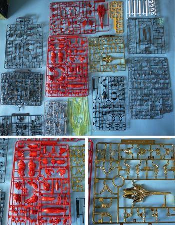 MG並みのランナー枚数! 注目すべきは赤パーツの色合いと金メッキパーツです。詳しく紹介しますよ