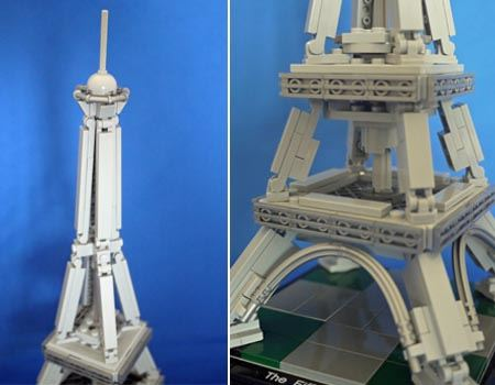 塔上部と中部をアップで。中部の円盤状のブロックがなかなか秀逸な組み方で楽しいです