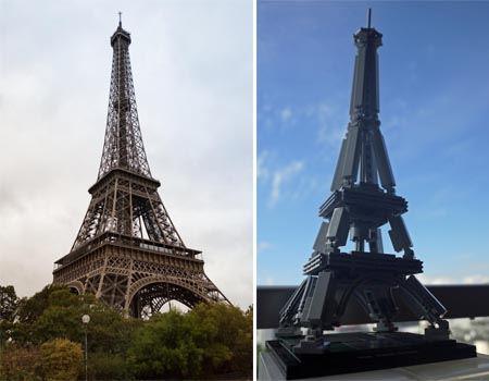 本物のエッフェル塔と比べて。レゴ版もなかなかいい味を出してますよね