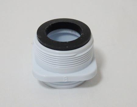 内ネジ用アダプター(その2)。直径24ミリ、取り付けネジW24×1.0。適用蛇口メーカー:グローエ、SAN-EI、KAKUDAI等