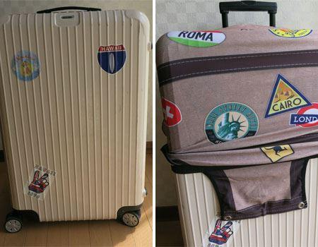 1)まずはスーツケースを用意。カバーを上からかぶせます