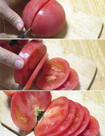 通販番組のようにトマトをきれいにスライスできます。断面もきれいですよね