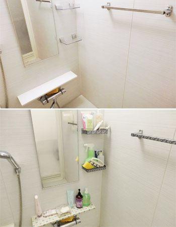 バスルームの洗い場のBefore&After。殺風景だったバスルームが明るい雰囲気になり、バスタイムも楽しくなりそう♪ 壁面なども順次デコレーションしていきたいです