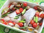 パナソニックのコンパクトオーブンで作る鯛とアサリの蒸し焼き