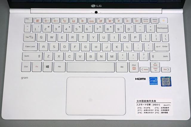 キーボードの右下には、日本語変換早見表のシールが貼ってある