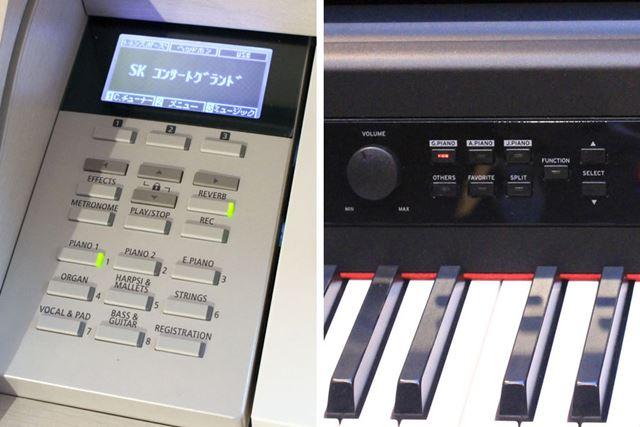 本体に搭載されるスイッチやディスプレイを操作して、音色を変えて多彩な演奏を楽しめます