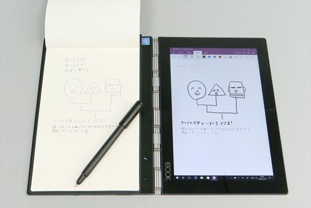 REAL PENは、Haloキーボード面に置いた紙のノートに書いたものをすぐにデジタル化できる機能だ