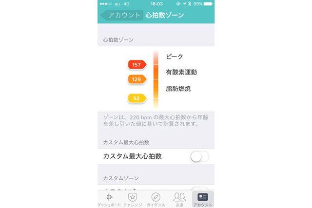 アプリ「Fitbit」の心拍数ゾーンの説明。人によってゾーンを区切る心拍数の値は異なる