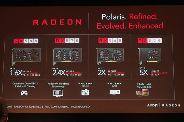 「Radeon RX 500」シリーズのラインアップ一覧