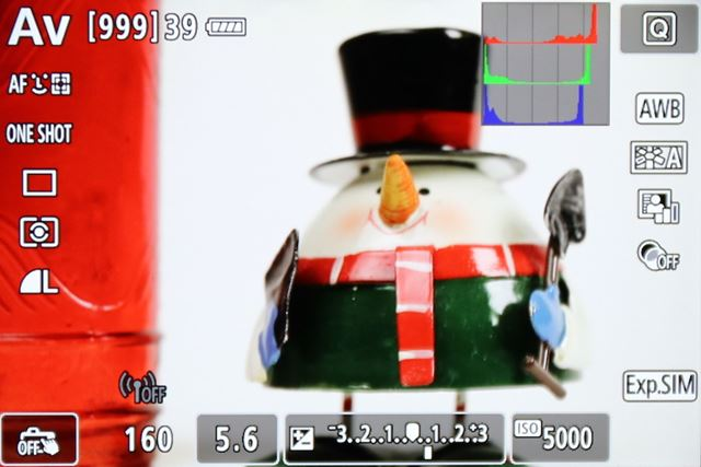 EOS 80Dのライブビュー撮影の画面。ヒストグラムをRGBで表示できる